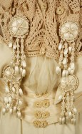 View of detail on front bodice.