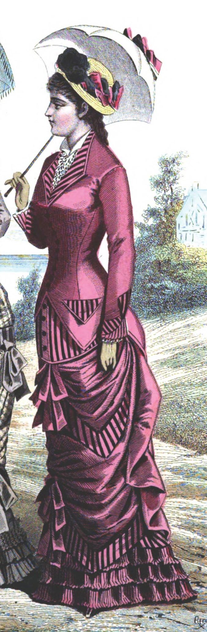 Sylvia_s_Home_Journal_1879_2 Mid-Bustle Era Design Fabric  Mid-Bustle Dress Design Adam