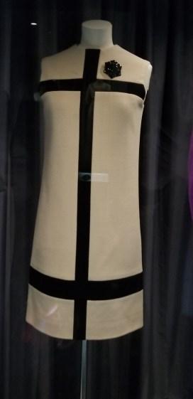 Yves Saint Laurent, Cream and dark navy blue wool jersey, 'Mondrian' dress, 1965; Fashion Museum Bath