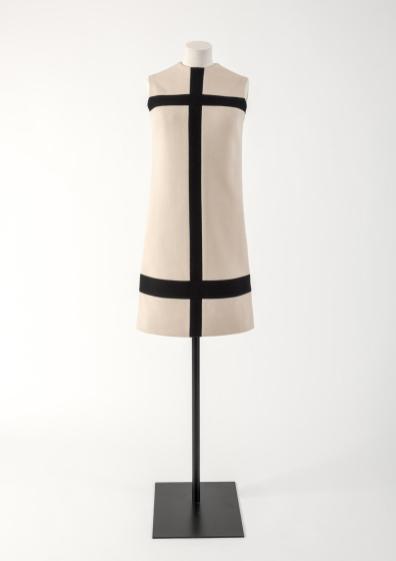 Cream and dark navy blue wool jersey, 'Mondrian' dress, Yves Saint Laurent, 1965 Fashion Museum Bath