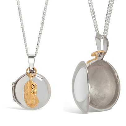 Lily Blanche Gold Feather Locket