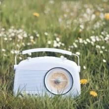 radio bleue au milieu des champs