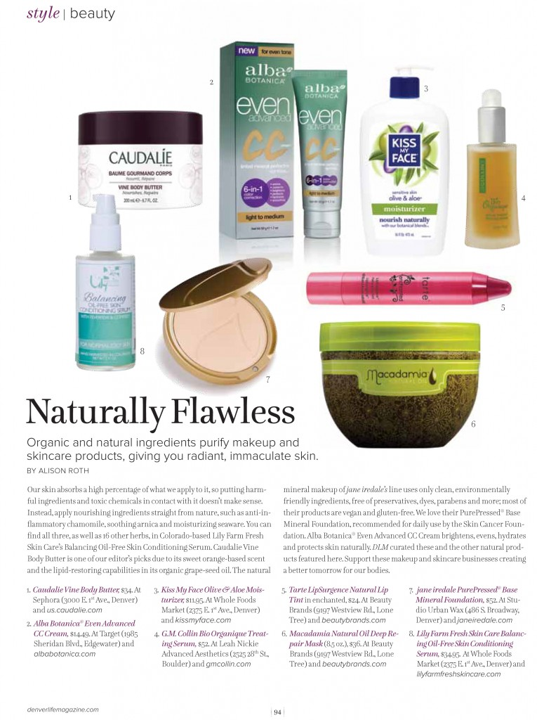 Lily Farm Fresh Skin Care featured Denver Life Magazine