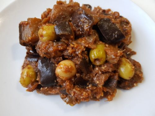 salade cuite aubergines sauce tomate olives