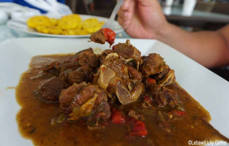 A plate of stewed goat in Monte Cristi, Dominican Republic.