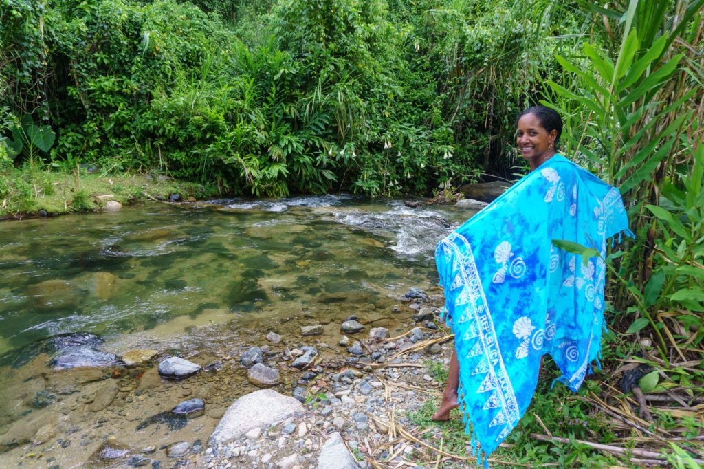 Drying out by the river after a swim in Manabao, Dominican Republic.