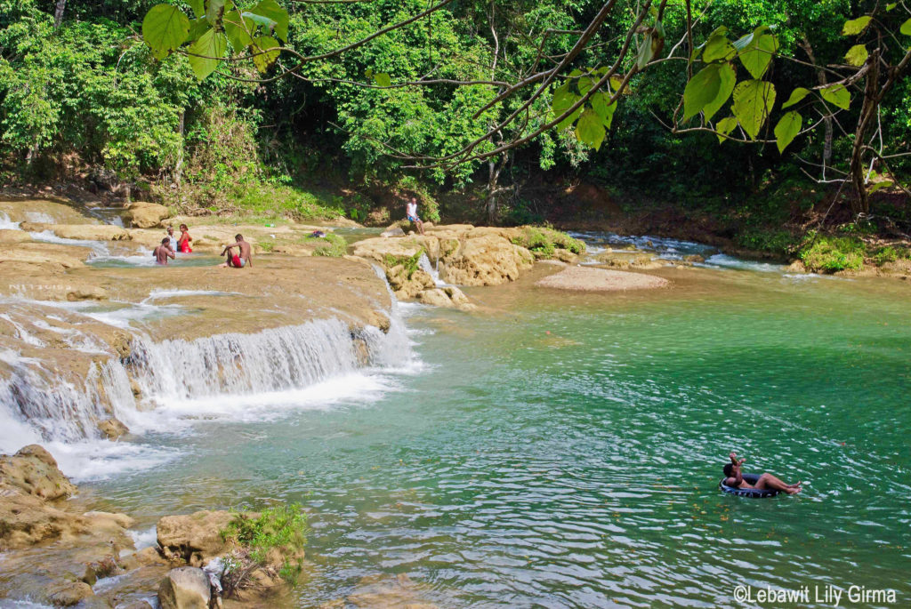 View of river and mini falls at Rio Comate, Monte Plata, Dominican Republic.