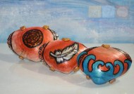Three Painted Shells Based on the Fall of Icarus drawing: Sun, Feather, Sea.
