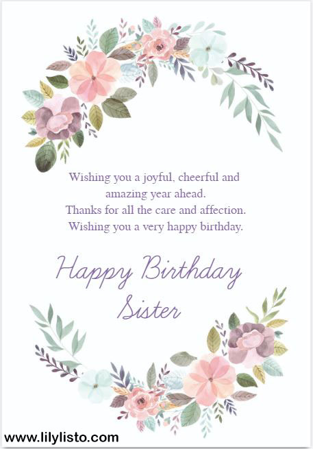 Birthday Cards For Sister Happy Birthday Sister Cards