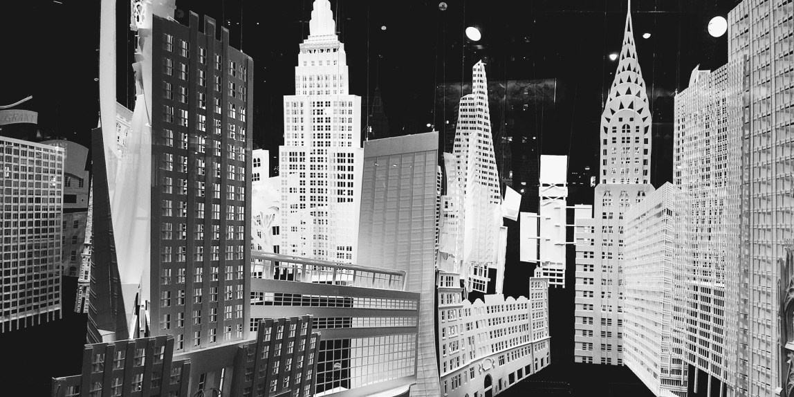 city streets composed out of cardboard cutouts