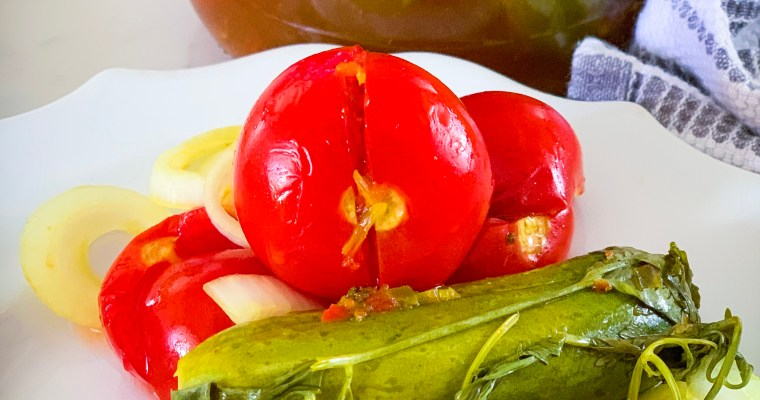Pickled Cucumbers and Tomatoes