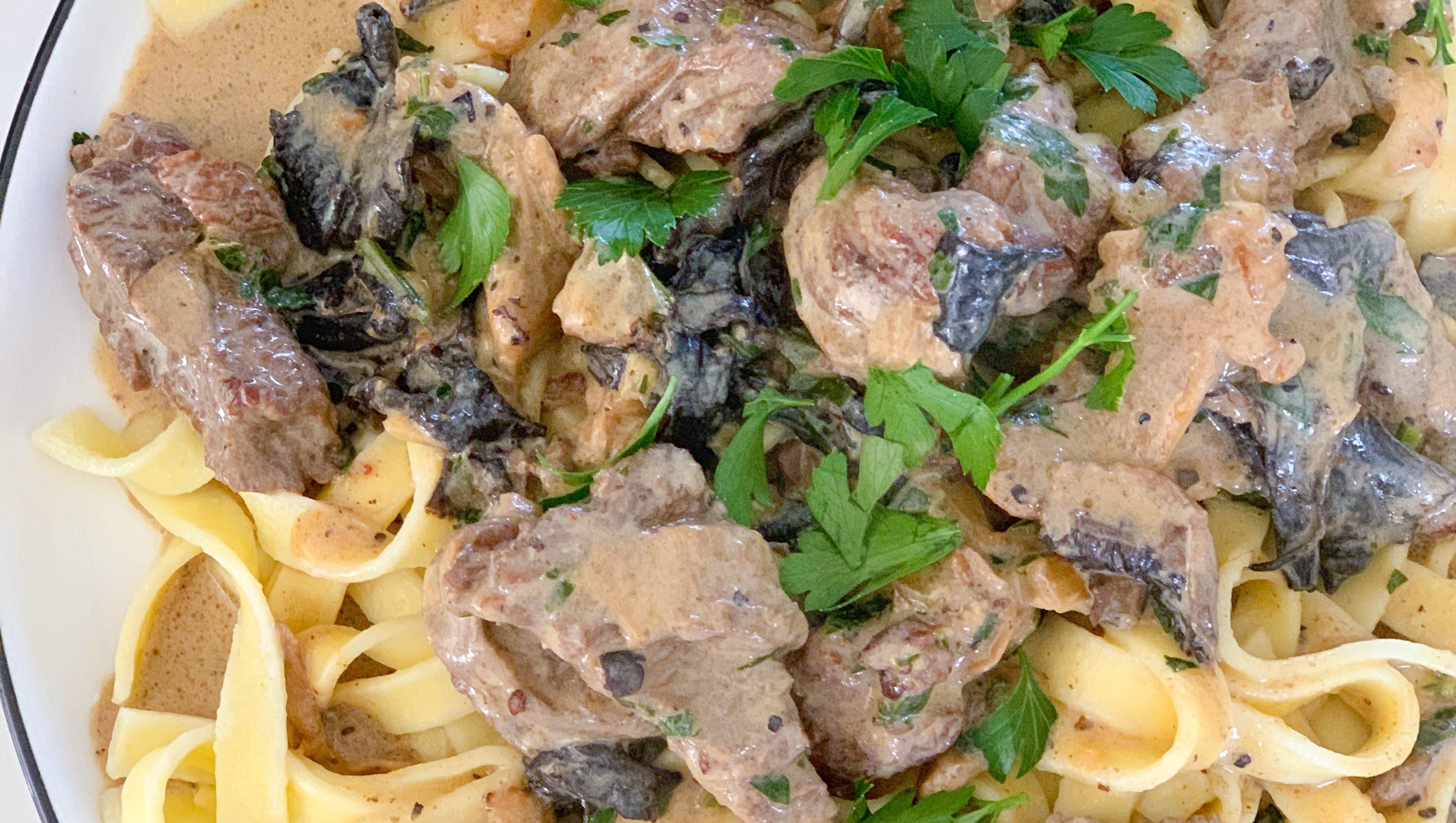 Beef Stroganoff with Dried Mushrooms