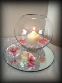 Fishbowl wedding centrepiece, South Lanarkshire
