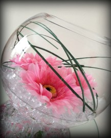 Fishbowl with gerberas, wedding centrepiece, Glasgow - Lily Special Events