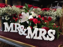 Mr and Mrs Sign, Glasgow wedding decor, chair cover and centrepiece hire from Lily Special Events