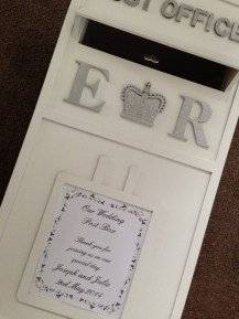 Personalised wedding post box available for hire throughout all of Central Scotland, including Glasgow, Lanarkshire, Ayrshire, Perthshire