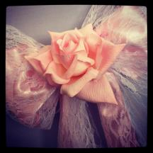 Lace bows with rose Chair Covers - Lily Special Events