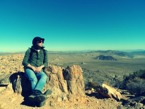 With Clementine atop one of the mountains in Joshua Tree National Park overlooking the Mojave desert. 11/12/12