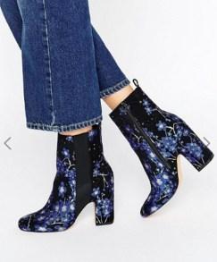 bottines fleurs bleu