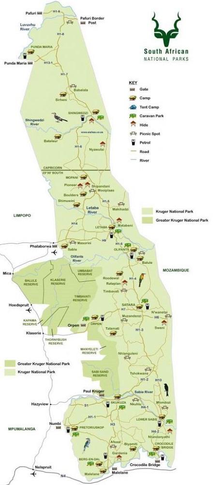 lilytoutsourire - safari au parc kruger - 3 jours dans le bush - carte