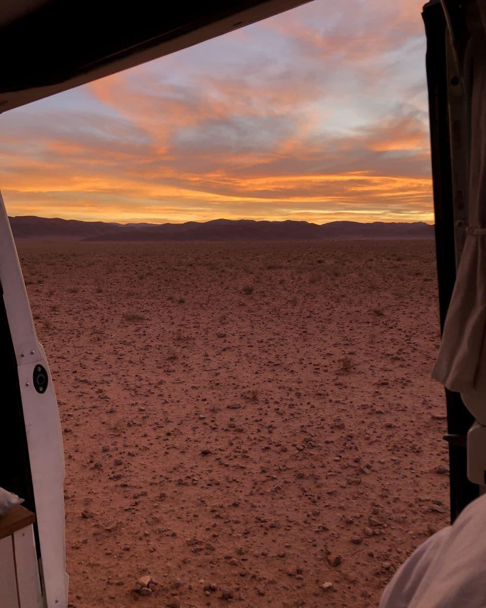 Le Maroc en van - coucher de soleil à Bouarfa (2)