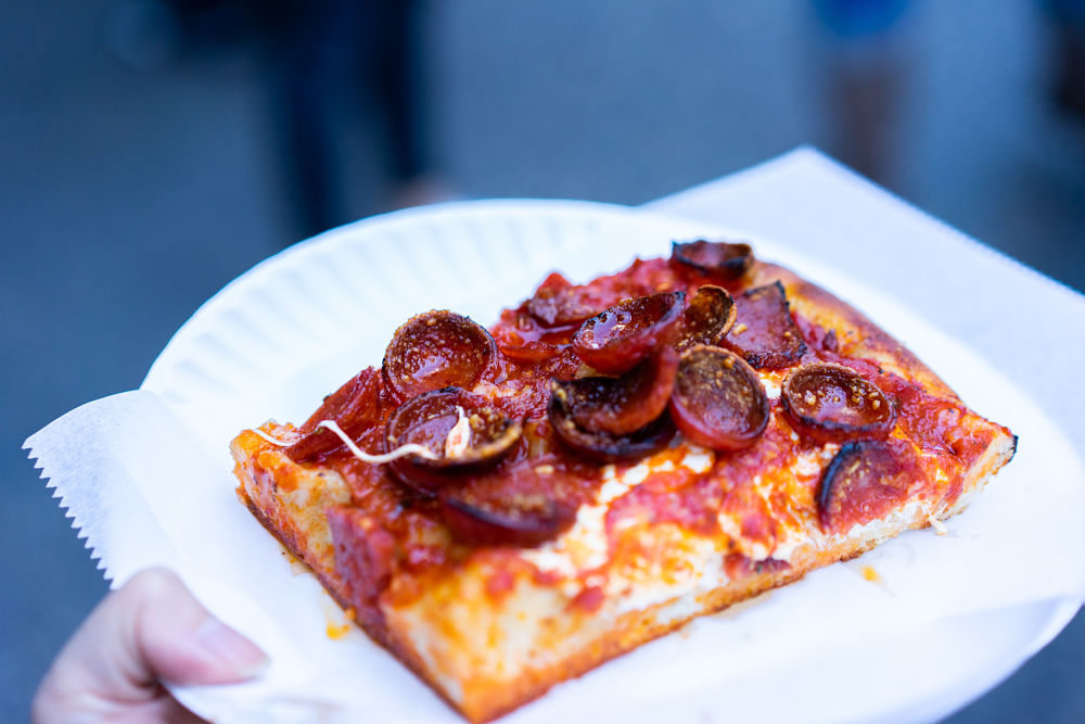 The spicy spring slice at Prince Street Pizza, one of the best foods in the East Village