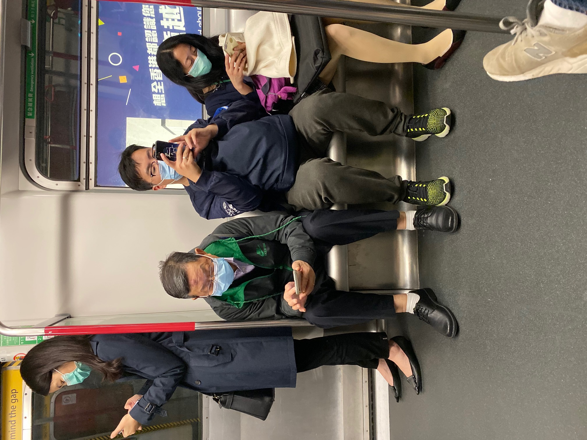 Masks on the train in Hong Kong