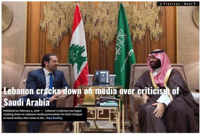 Image Lima Charlie News Headline Lebanon free speech FEB 4 2018