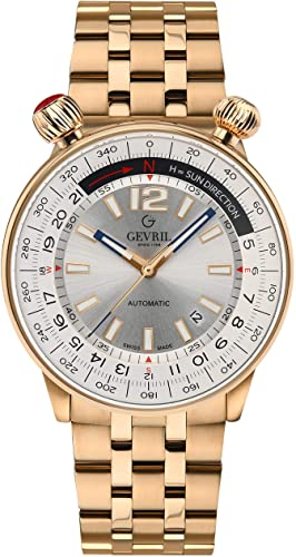 Watches for Men: Gevril Men s Wallabout Swiss Automatic Watch with Stainless Steel Strap  Rose Gold  20  Model  48564  (Gevril Watches for Men), (Gevril).
