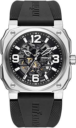 Watches for Men: Infantry Mens Skeleton Automatic Mechanical Watch  100M Waterproof Wrist Watches for Men  Casual Outdoor Sport Wristwatch with Rubber Band (Infantry Watches for Men), (Infantry).