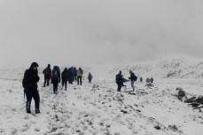 Snow field; waiting for the rest of the group to catch up.