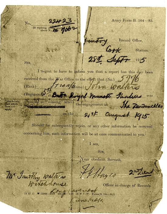 John Walters death letter