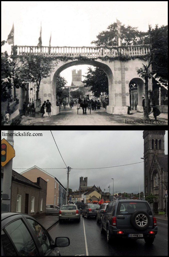 Athlunkard Street In 1932 false arches were placed on the entrances into the city in preparation for the Eucharistic Congress which travelled the country.