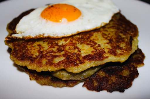 Irish boxty pancakes with a fried egg on top.