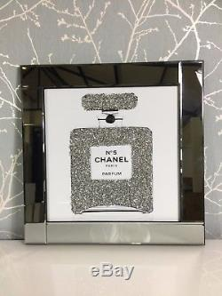 Sparkly Diamond Crystal Chanel No 5 Bottle Mirrored 60cm Picture 3d Wall Art