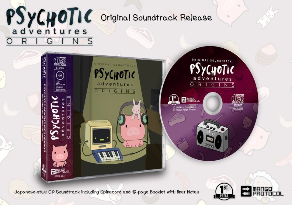 psychotic adventures premium cd soundtrack physical release first press games soundtrack cd cover limitedgamenews.com