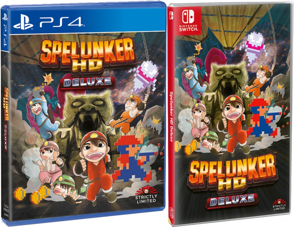 spelunker hd deluxe standard edition physical retail release strictly limited games playstation 4 nintendo switch cover www.limitedgamenews.com