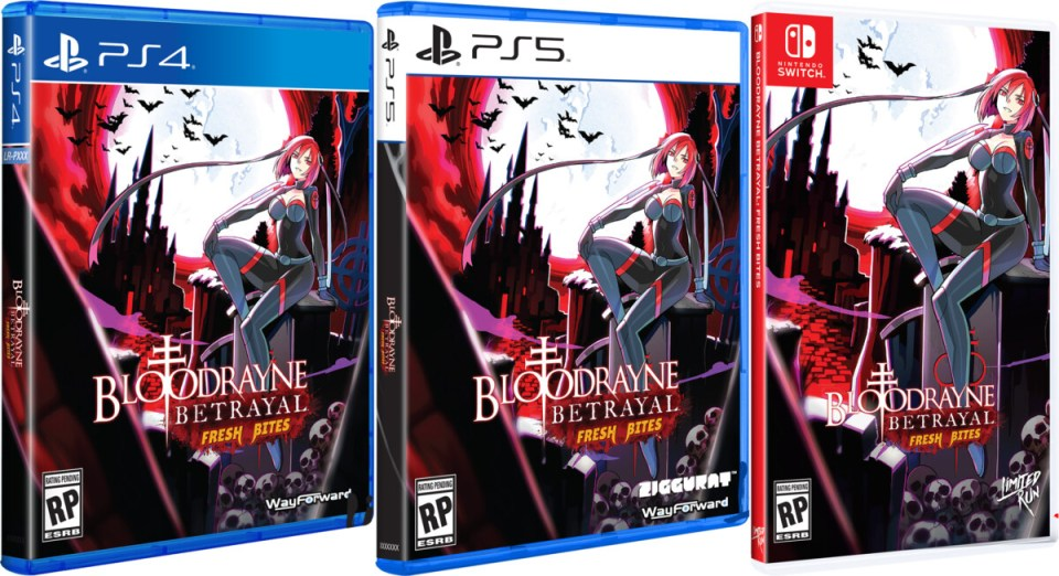 bloodrayne betrayal fresh bites standard edition physical retail release limited run games playstation 4 playstation 5 nintendo switch cover www.limitedgamenews.com