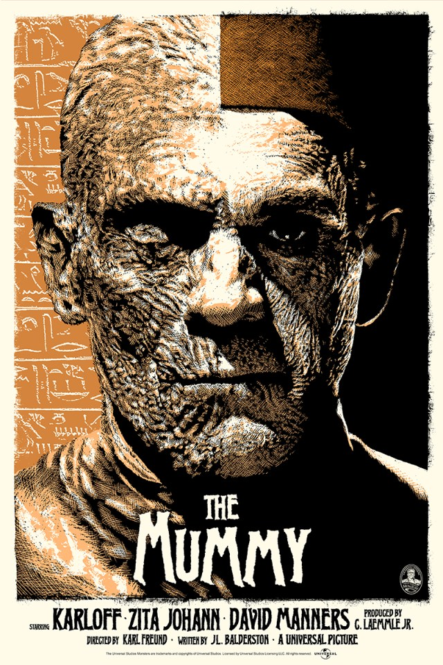 "「ミイラ再生(カッパー)」 The Mummy (Copper)  by ElvisDead.  24""x36"" screen print. Hand numbered.  Edition of 125.  Printed by D&L Screenprinting.  US$45"