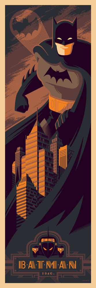 "「バットマン(1940年代)」 Batman (1940s) by Tom Whalen.  12""x36"" screen print.  Hand numbered. Edition of 275.  Printed by D&L Screenprinting.  US$45"