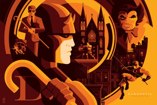 "「デアデビル」バリアント Daredevil (Variant)  by Tom Whalen.  36""x24"" screen print.  Signed & Hand numbered.  Edition of 125.  Printed by D&L Screenprinting.  US$75"
