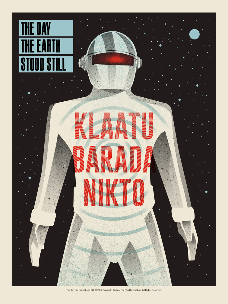 """The Day the Earth Stood Still  by Methane Studios.  18""""x24"""" screen print. Hand numbered. Edition of 150.  Printed by D&L Screenprinting.  US$40"""