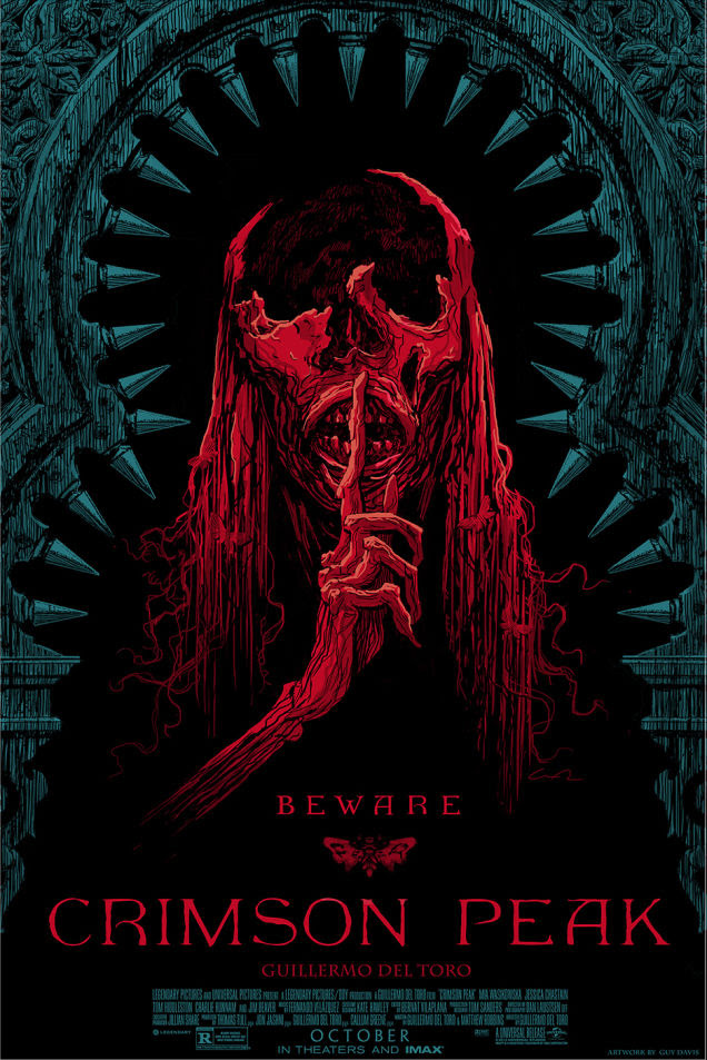 「クリムゾン・ピーク」 Crimson Peak  by Guy Davis.  24″x36″ screen print. Hand numbered.  Edition of 250.  Printed by D&L Screenprinting.  US$45