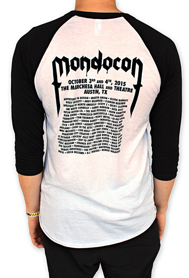 "「MONDOCON 2015 」 Tシャツ MondoCon 2015 ""Tour"" Raglan. Art by Sam Turner. US$25"
