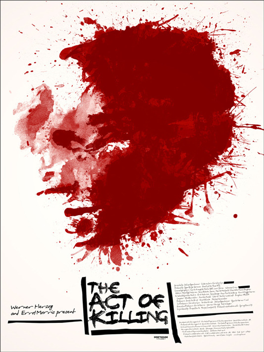 """THE ACT OF KILLING Poster by Jay Shaw. 18""""x24"""" screen print. Hand numbered. Edition of 100.  Printed by D&L Screenprinting.  US$35"""