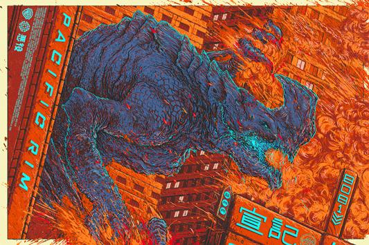 """「パシフィック・リム(カイジュウ)」 Pacific Rim (Kaiju) Poster by Ash Thorp.  24""""x36"""" screen print. Hand numbered. Edition of 350. Printed by D&L Screenprinting.  US$50"""
