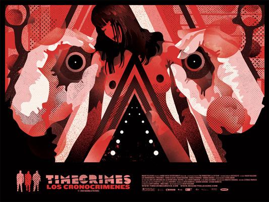 """「タイム クライムス」TIMECRIMES Poster by We Buy Your Kids.  24""""x18"""" screen print. Hand numbered. Edition of 135. Printed by D&L Screenprinting.  US$40"""