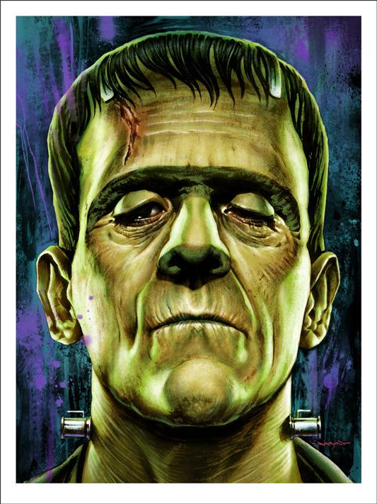 """「フランケンシュタイン」FRANKENSTEIN  Poster by Jason Edmiston.  18""""x24"""" screen print. Hand numbered. Edition of 175.  Printed by D&L Screenprinting.  US$45"""
