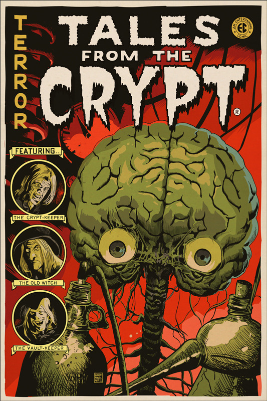 "Tales from the Crypt Poster by Francesco Francavilla. 24""x36"" screen print.  Hand numbered. Edition of 225.  Printed by D&L Screenprinting.  US$50"
