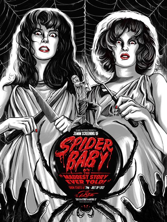 """「スパイダー ベイビー」SPIDER BABY Poster by Ghoulish Gary Pullin.  18""""x24"""" screen print. Hand numbered. Edition of 125.  Printed by D&L Screenprinting.  US$40"""